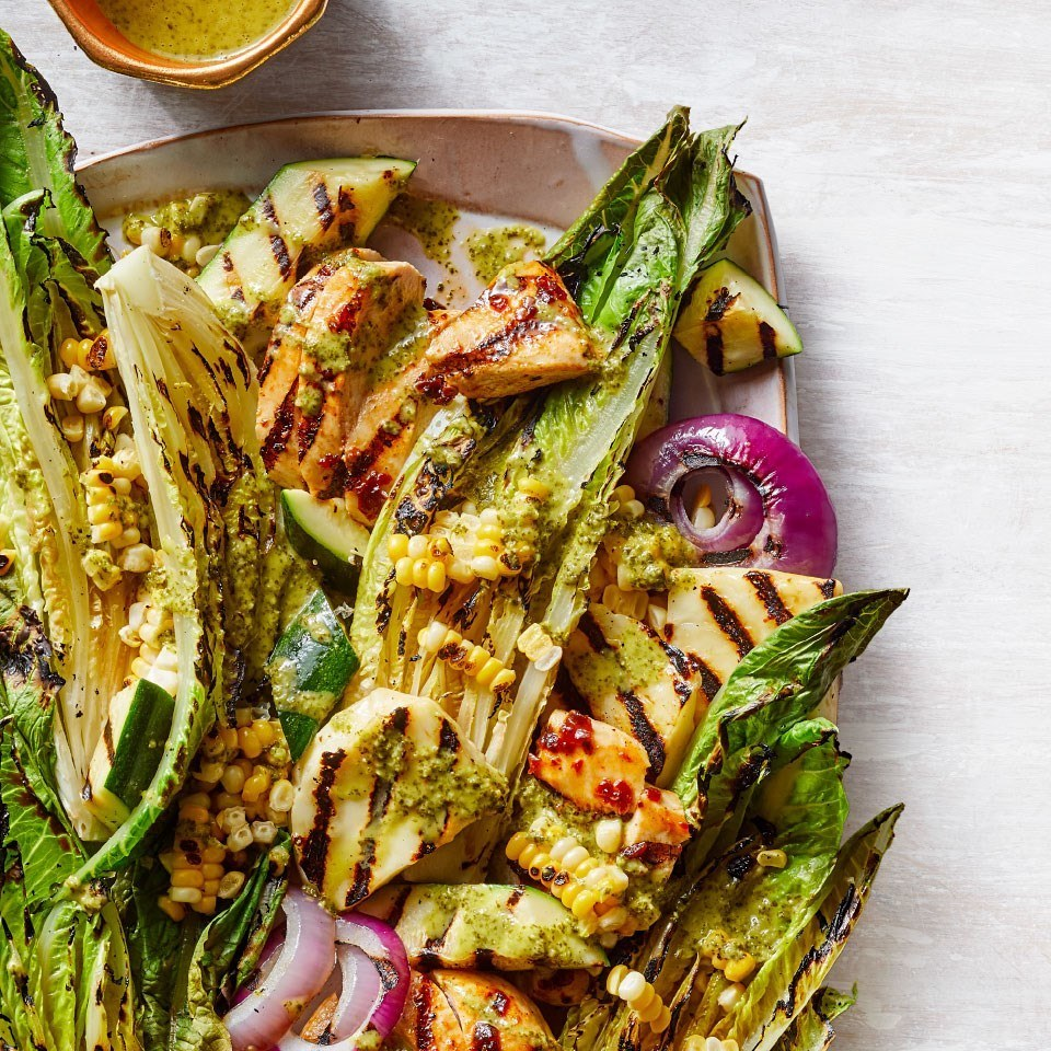 How To Make Grilled Salad with Chipotle Chicken & Halloumi, Corn, Zucchini, Red Onion and Cilantro-Lime Dressing Recipe   HeyFood — heyfoodapp.com