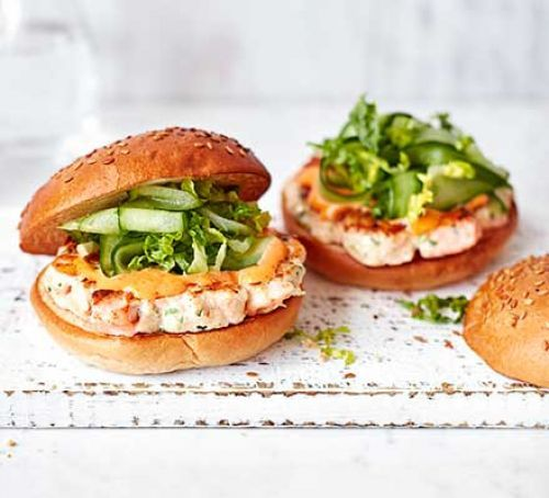 Prawn & Salmon Burgers With Spicy Mayo Recipe | HeyFood — heyfoodapp.com