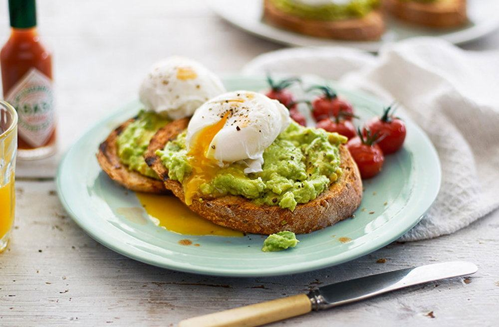 Smashed Avocado On Toast With Poached Eggs And Tomatoes Recipe | HeyFood — heyfoodapp.com