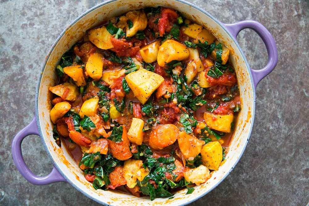 Roasted Root Vegetables With Tomatoes And Kale Recipe   HeyFood — heyfoodapp.com