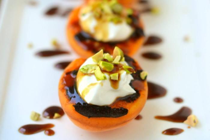 Blackened Apricots with Creme Fraiche, Pistachios and Pomegranate Molasses Recipe | HeyFood — heyfoodapp.com