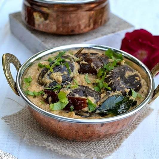 Bagara Baingan (Hyderabadi Baby Eggplants in Peanut-Coconut Gravy) Recipe | HeyFood — heyfoodapp.com