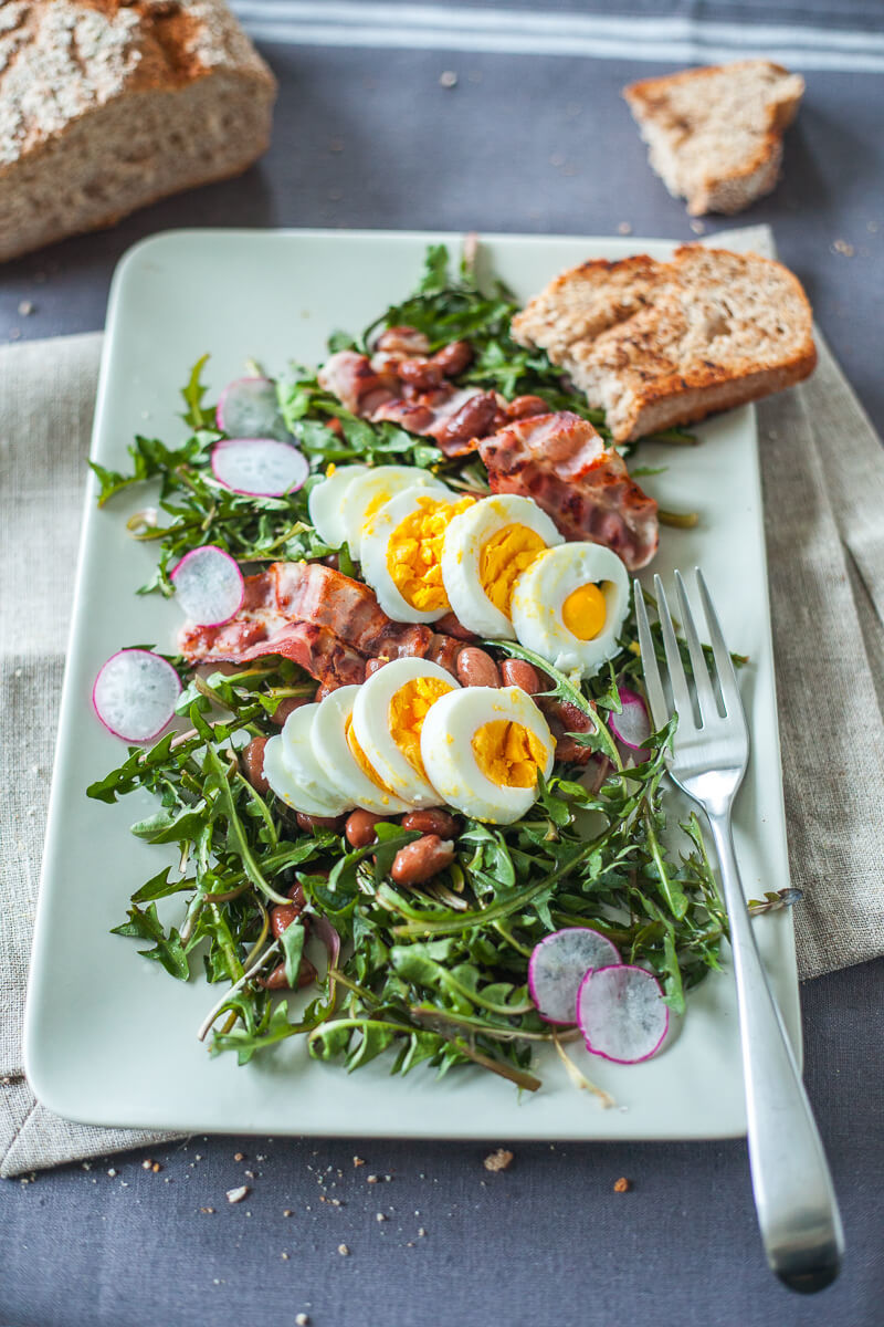 Dandelion Salad with Eggs and Bacon Recipe | HeyFood — heyfoodapp.com