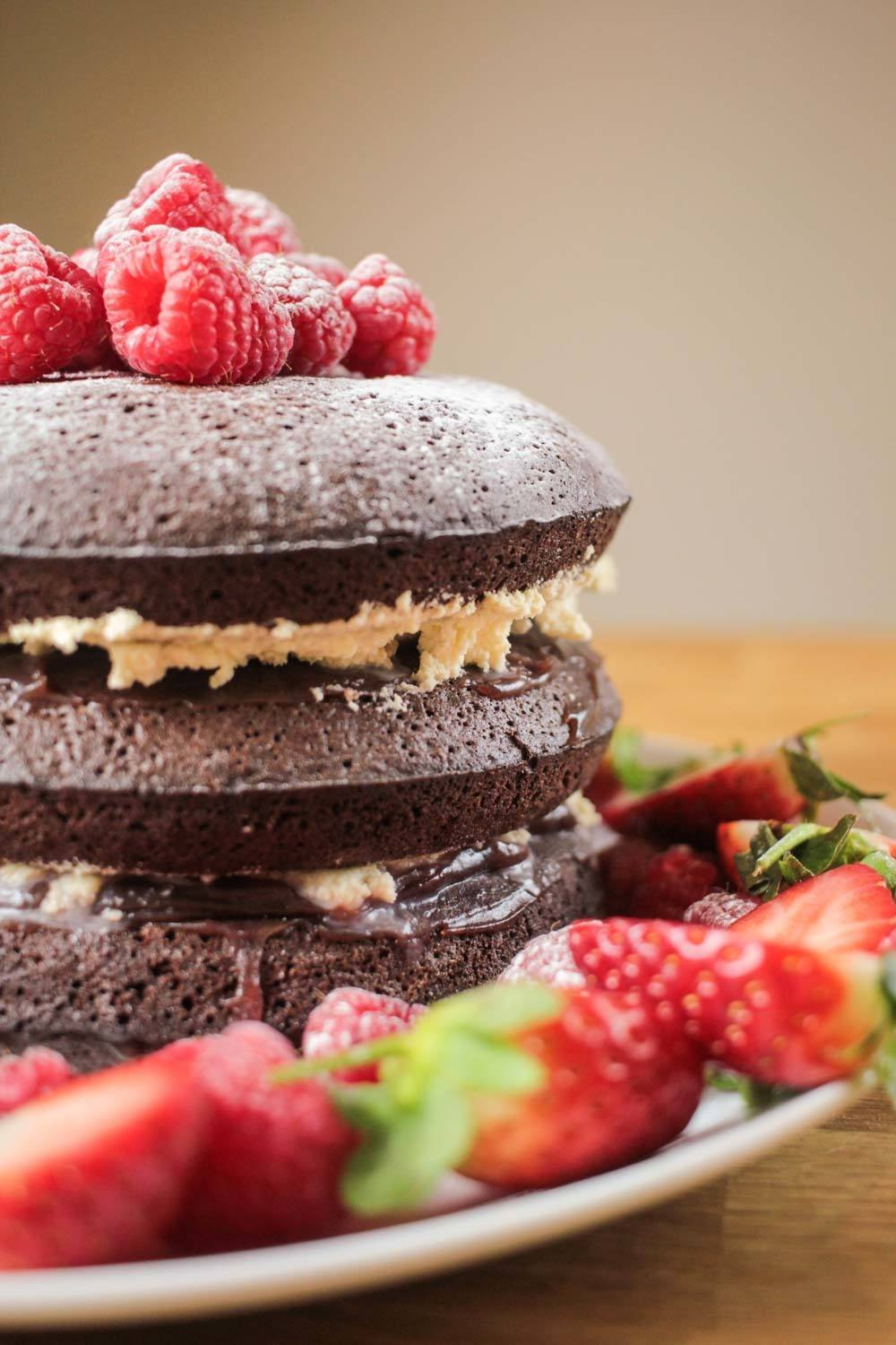 Raspberry and Chocolate Brownie Layer Cake Recipe | HeyFood — heyfoodapp.com