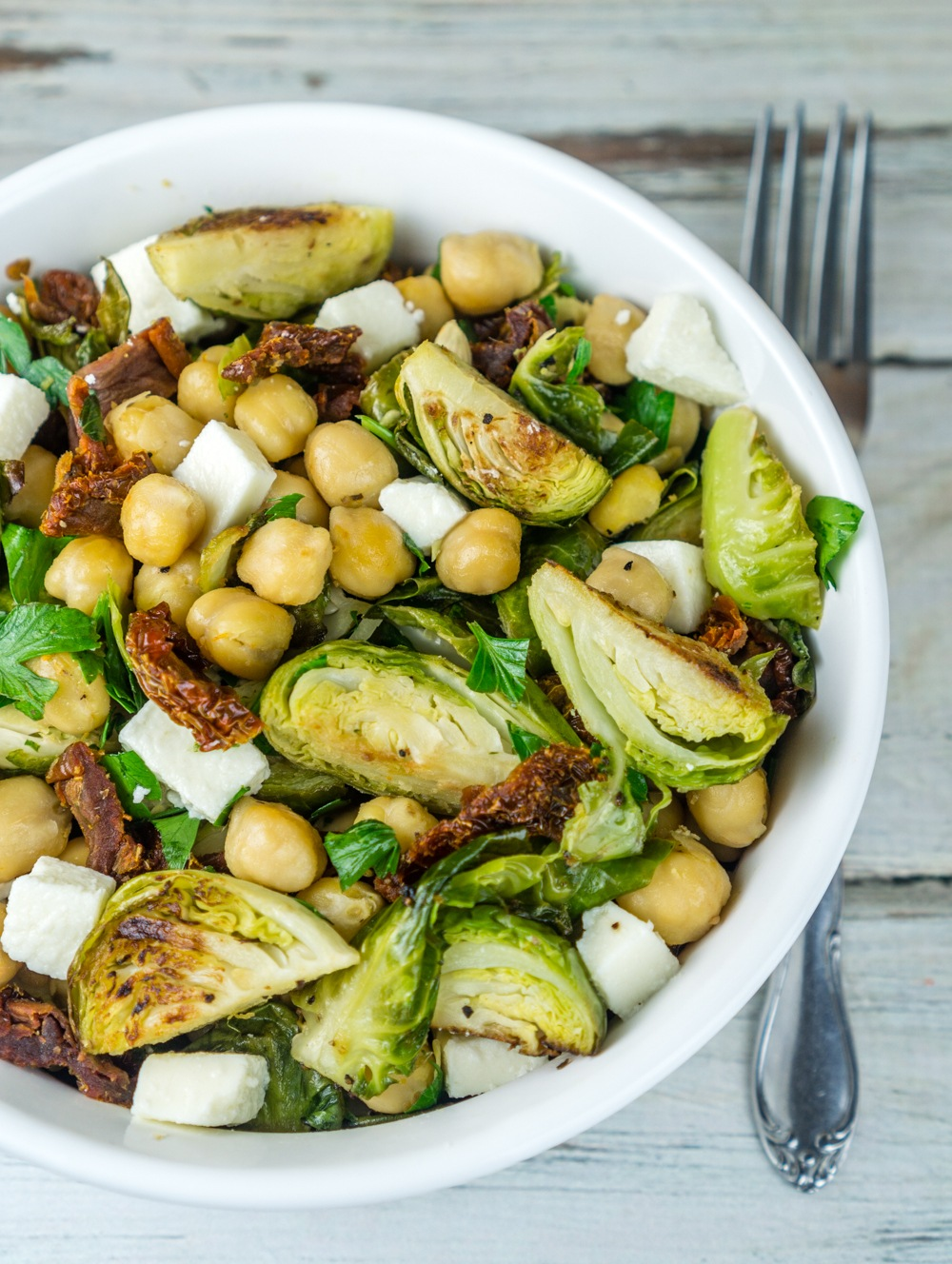 Roasted Brussels Sprouts and Chickpeas Salad Recipe | HeyFood — heyfoodapp.com