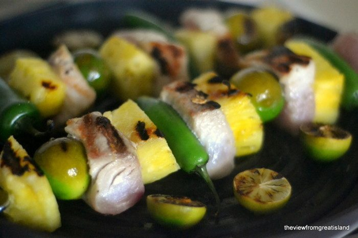 Mahi Mahi Skewers with Jalapeno, Key Lime, and Pineapple Recipe | HeyFood — heyfoodapp.com