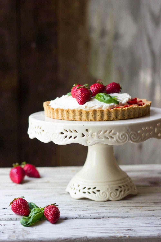 Strawberry Basil & Vanilla Bean Mascarpone Tart (Updated!) Recipe | HeyFood — heyfoodapp.com
