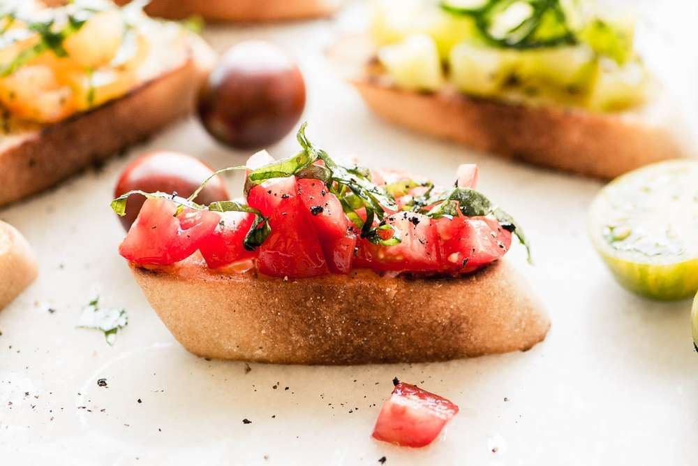 Heirloom Tomato Bruschetta  Recipe | HeyFood — heyfoodapp.com