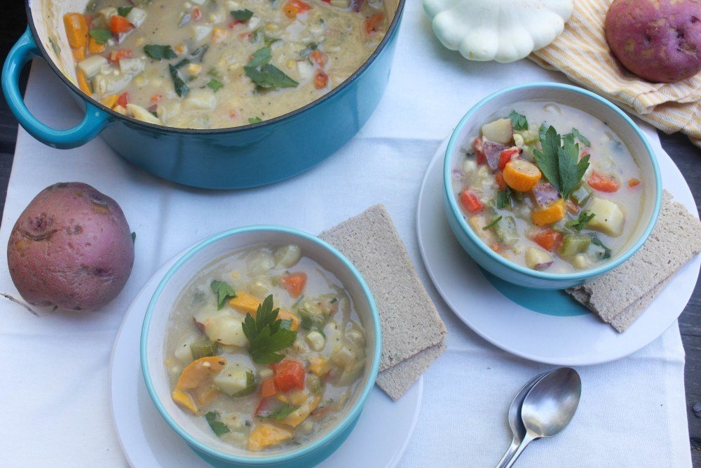Summer Squash & Sweet Corn Chowder Recipe | HeyFood — heyfoodapp.com