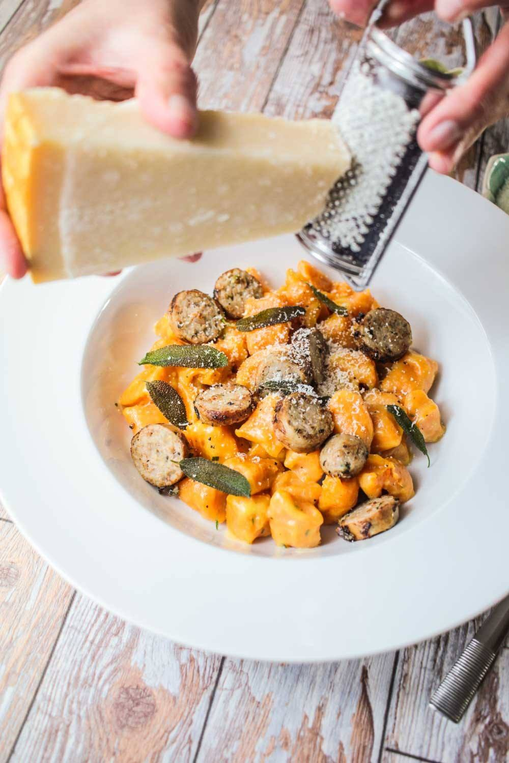 Buttery Sweet Potato Gnocchi with Sausage Recipe | HeyFood — heyfoodapp.com