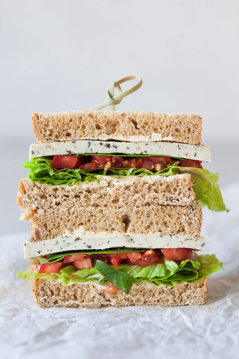 Basil Tomato Tofu Sandwich {Vegan} Recipe | HeyFood — heyfoodapp.com