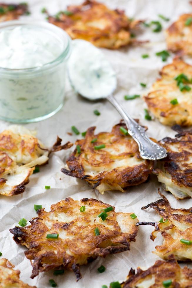 Sweet Onion Latkes with Chive Sour Cream Recipe | HeyFood — heyfoodapp.com