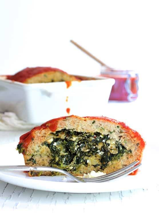 Spinach Feta Stuffed Turkey Meat Loaf Recipe | HeyFood — heyfoodapp.com