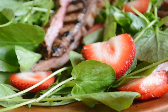 Strawberry jalapeno Marinated Steak Salad Recipe | HeyFood — heyfoodapp.com