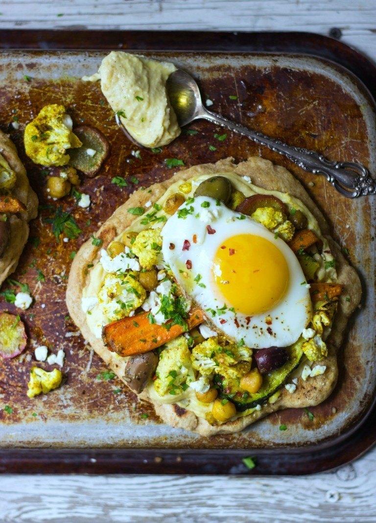 Spiced Veggie Naan Pizzas Recipe | HeyFood — heyfoodapp.com