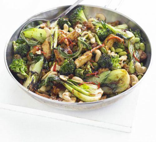 Tofu, Greens & Cashew Stir-fry Recipe   HeyFood — heyfoodapp.com