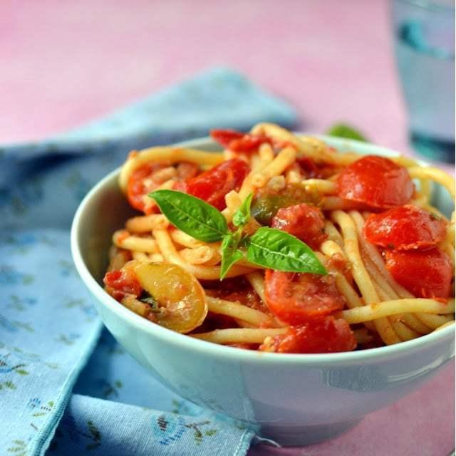 Pasta with Fresh Tomato Sauce Recipe | HeyFood — heyfoodapp.com
