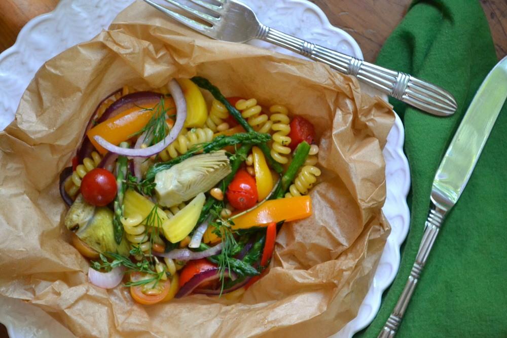 Pasta Primavera Packets with Lemon Balsamic Glaze Recipe | HeyFood — heyfoodapp.com
