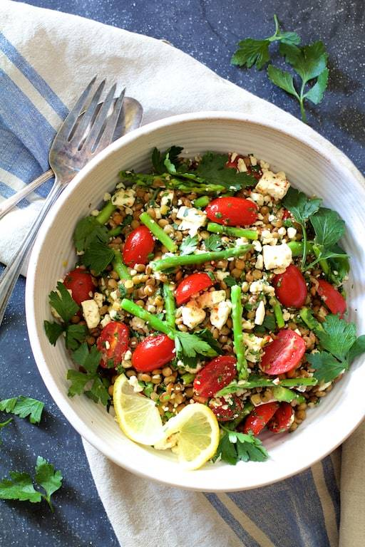 Lemony Lentil Asparagus and Tomato Salad with Feta Cheese Recipe | HeyFood — heyfoodapp.com
