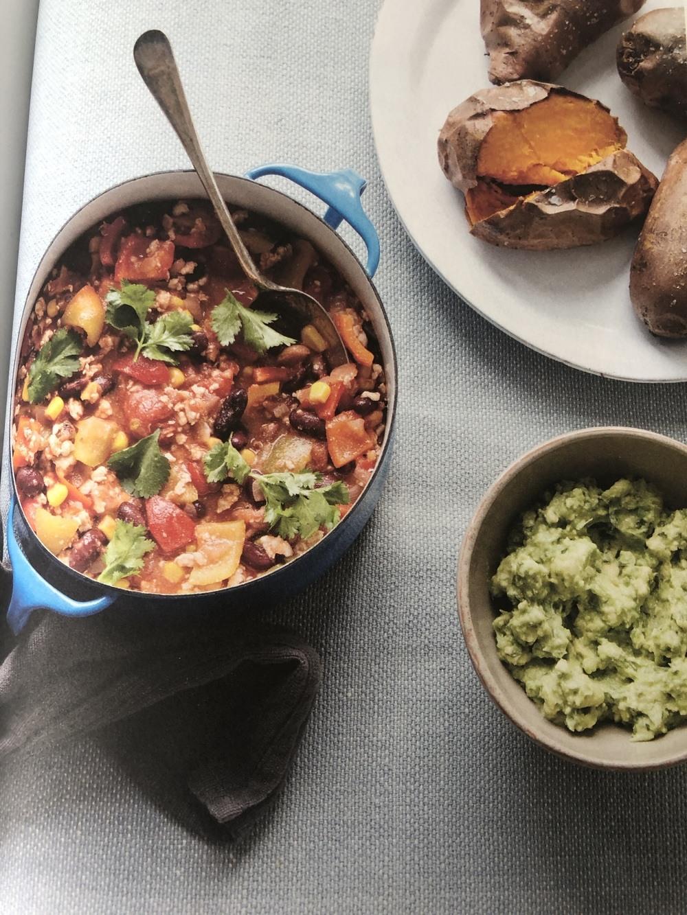Turkey Mince Chilli With Coriander And Lime Guacamole Recipe | HeyFood — heyfoodapp.com