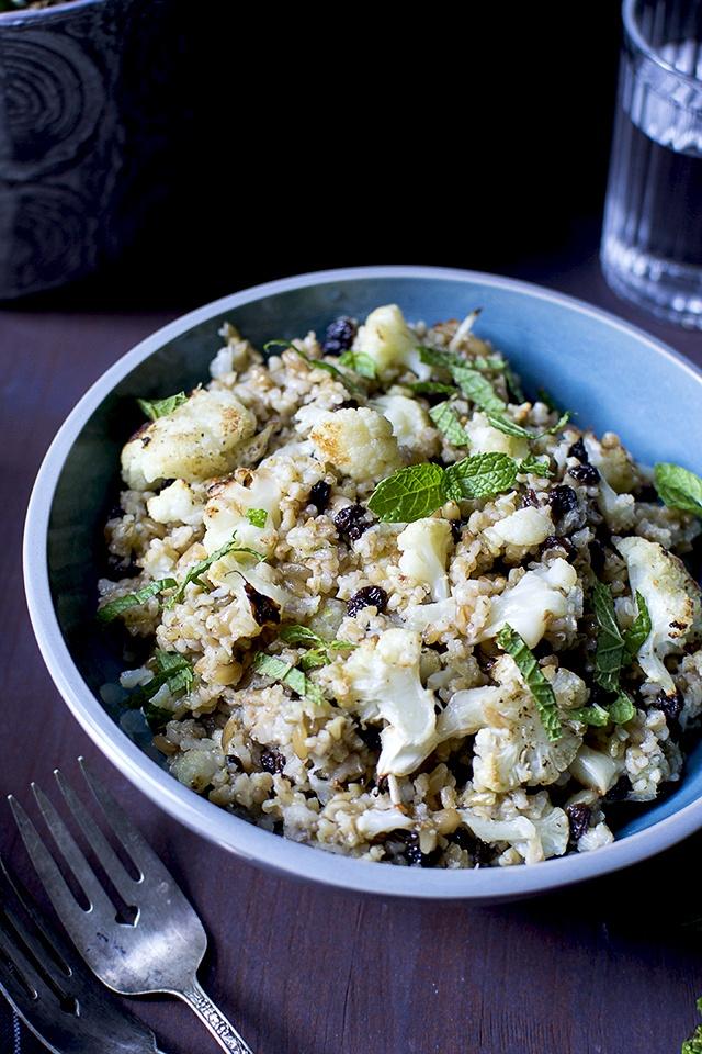 Freekeh & Roasted Cauliflower Salad Recipe | HeyFood — heyfoodapp.com