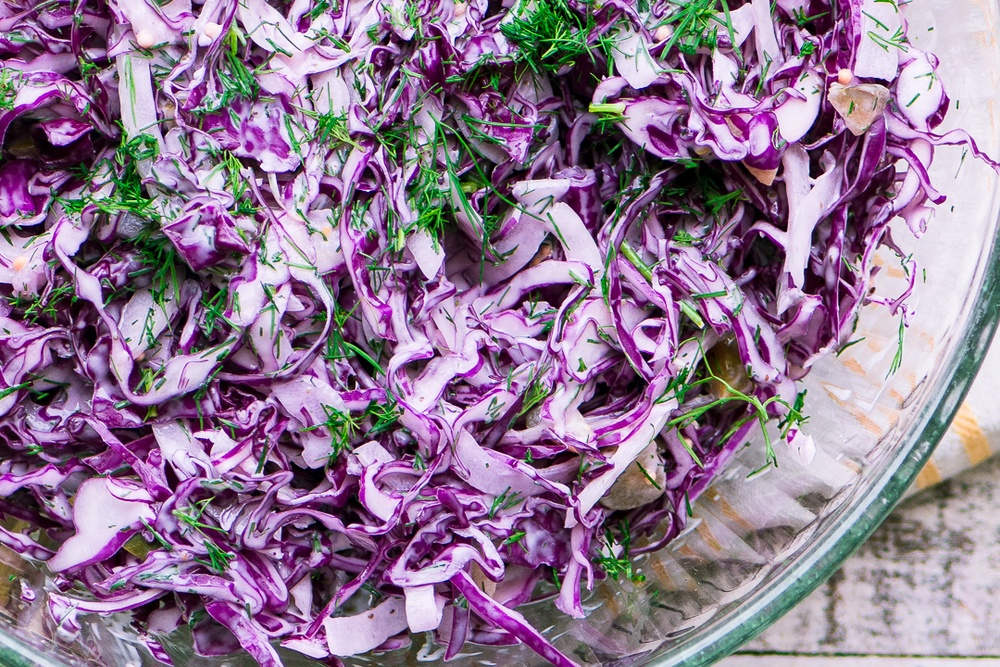Red Cabbage and Dill Slaw Recipe | HeyFood — heyfoodapp.com