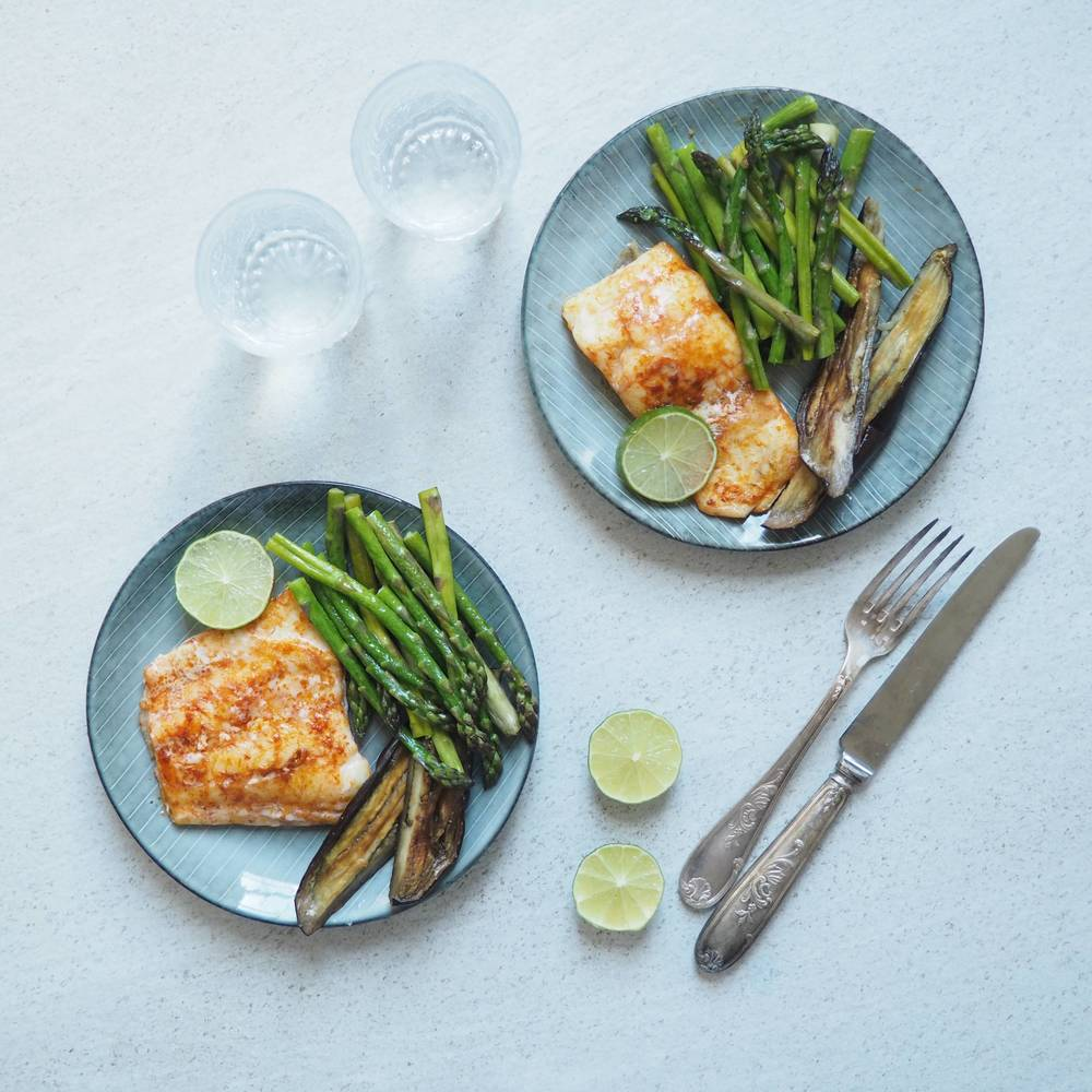 Smoked Haddock With Asparagus And Aubergine Chips Recipe | HeyFood — heyfoodapp.com
