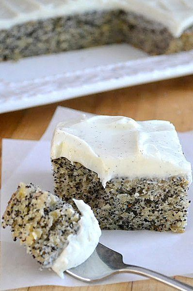 Banana Poppy Seed Cake with Vanilla Bean Frosting Recipe | HeyFood — heyfoodapp.com