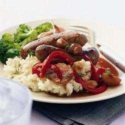 Sausages With Mustard Mash And Red Onion Gravy Recipe   HeyFood — heyfoodapp.com