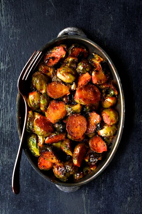 Sriracha Sweet Chili Roasted Brussels Sprouts Recipe | HeyFood — heyfoodapp.com