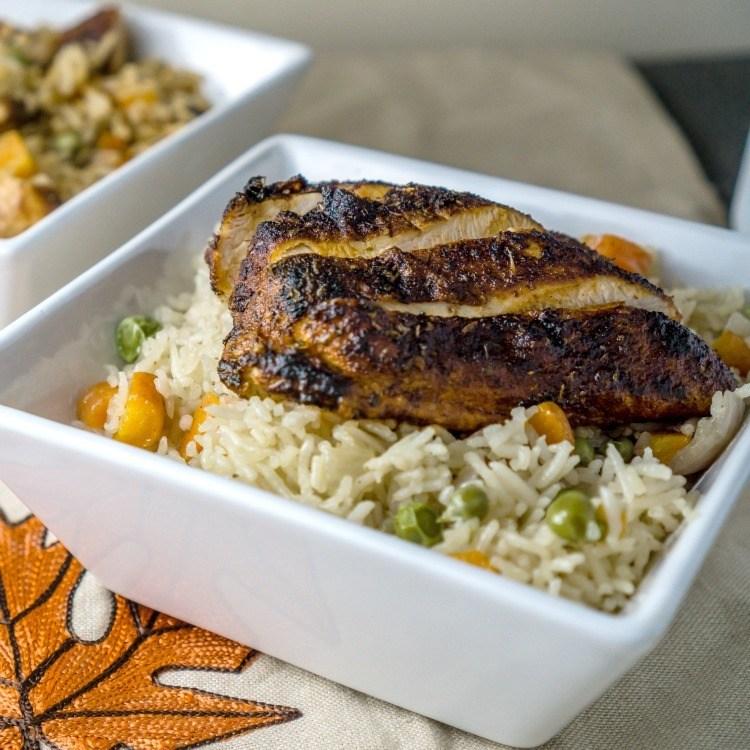 Rice Pilaf with Blackened Chicken Recipe | HeyFood — heyfoodapp.com