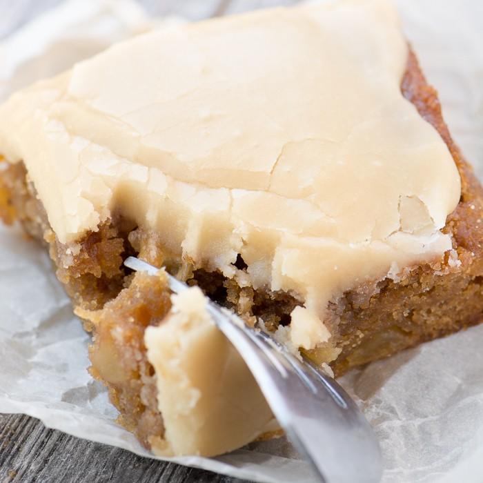 Maple Frosted Apple Blondies Recipe | HeyFood — heyfoodapp.com