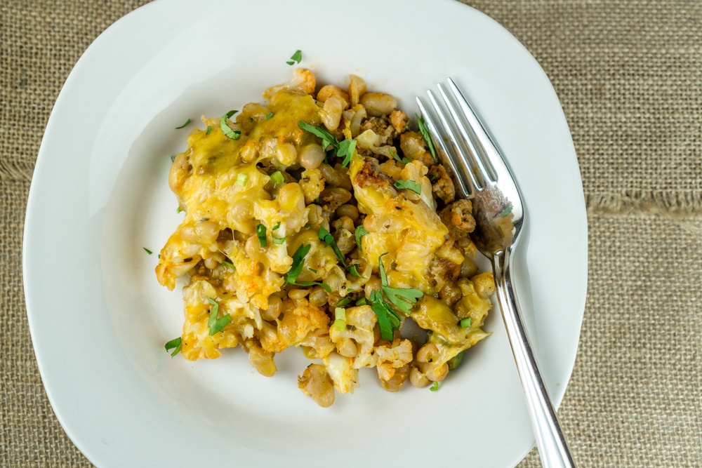 Cauliflower Chorizo Casserole with Mixed Beans Recipe | HeyFood — heyfoodapp.com