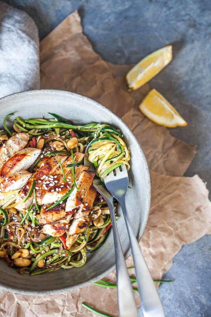 Low-Carb Chicken Zoodles (Zucchini Noodles) Recipe | HeyFood — heyfoodapp.com