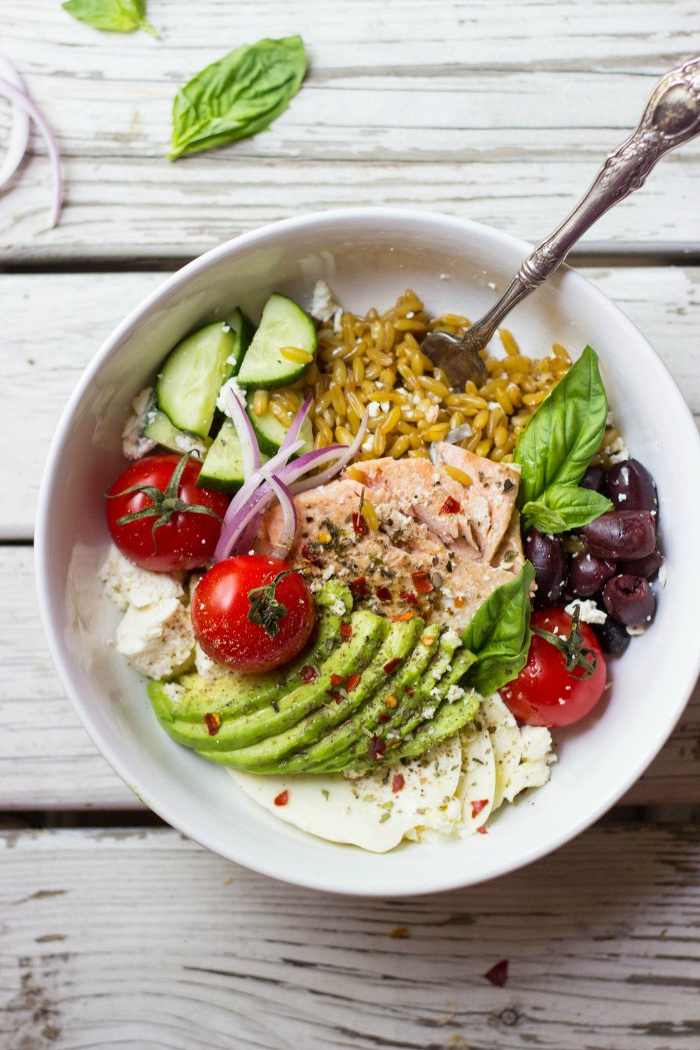Mediterranean Grain Bowls with Salmon Recipe | HeyFood — heyfoodapp.com