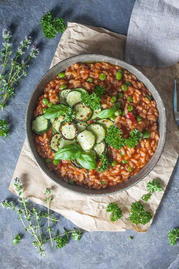 Vegan Creamy Grilled Zucchini Tomato Risotto Recipe | HeyFood — heyfoodapp.com