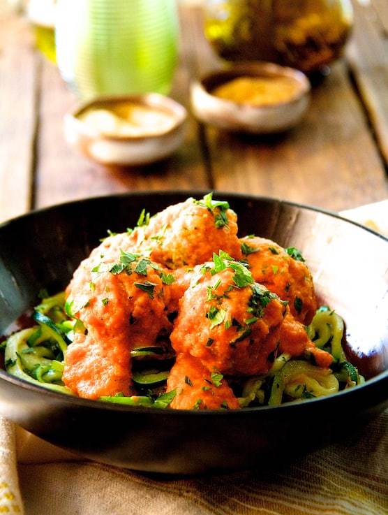 Chicken Meatballs with Roasted Red Pepper - Chickpea Sauce and Zucchini