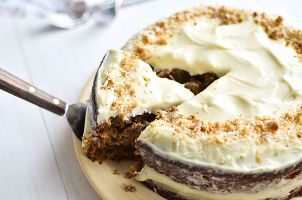 Gluten Free Carrot Cake with Cream Cheese Frosting Recipe | HeyFood — heyfoodapp.com