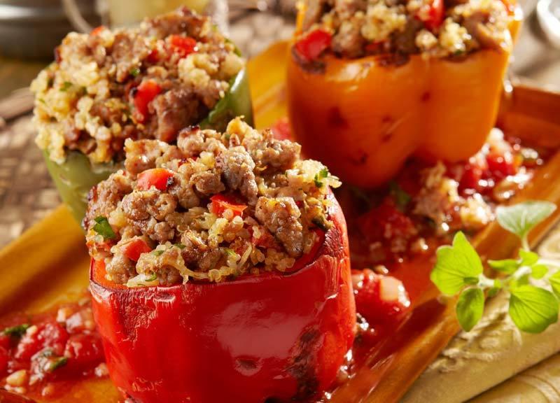Italian Sausage and Quinoa Stuffed Pepper Recipe | HeyFood — heyfoodapp.com