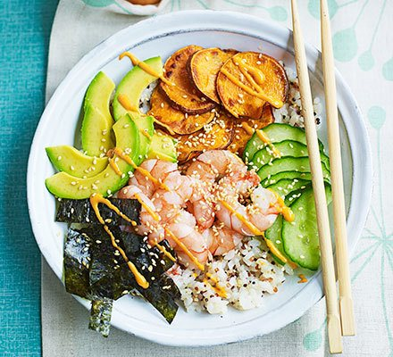 Rice & quinoa prawn sushi bowl Recipe | HeyFood — heyfoodapp.com