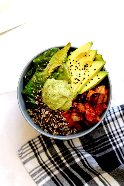 Vegan Buddha Bowl with Green Tahini Sauce Recipe | HeyFood — heyfoodapp.com