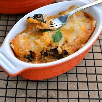 Spinach, Black Beans & Cheese Enchiladas Recipe | HeyFood — heyfoodapp.com