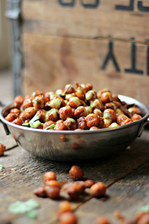 Spicy Roasted Chickpeas + Lemon Tahini Dressing Recipe | HeyFood — heyfoodapp.com