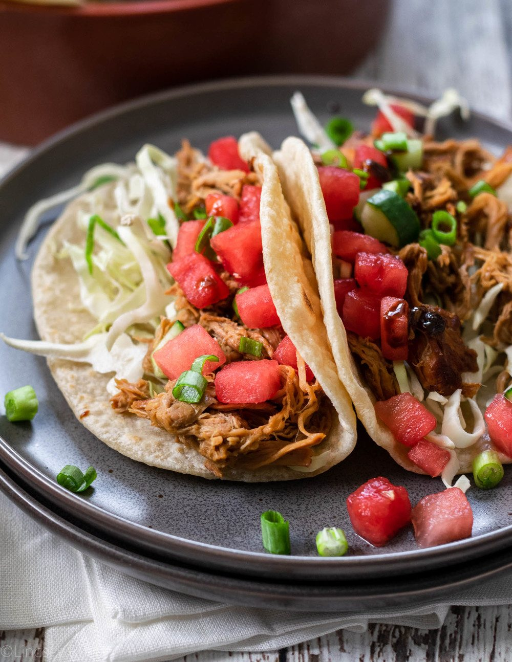 Asian Pork Tacos with Watermelon Cucumber Salsa Recipe | HeyFood — heyfoodapp.com