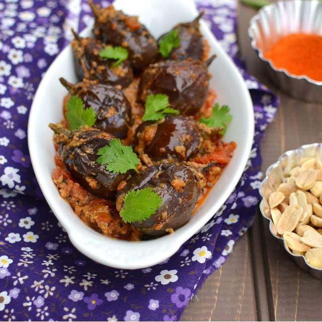 Stuffed Baby Eggplants Curry with Peanuts Recipe | HeyFood — heyfoodapp.com