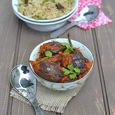 Shahi Baingan (Eggplant in Spicy tomato-almond sauce) Recipe | HeyFood — heyfoodapp.com