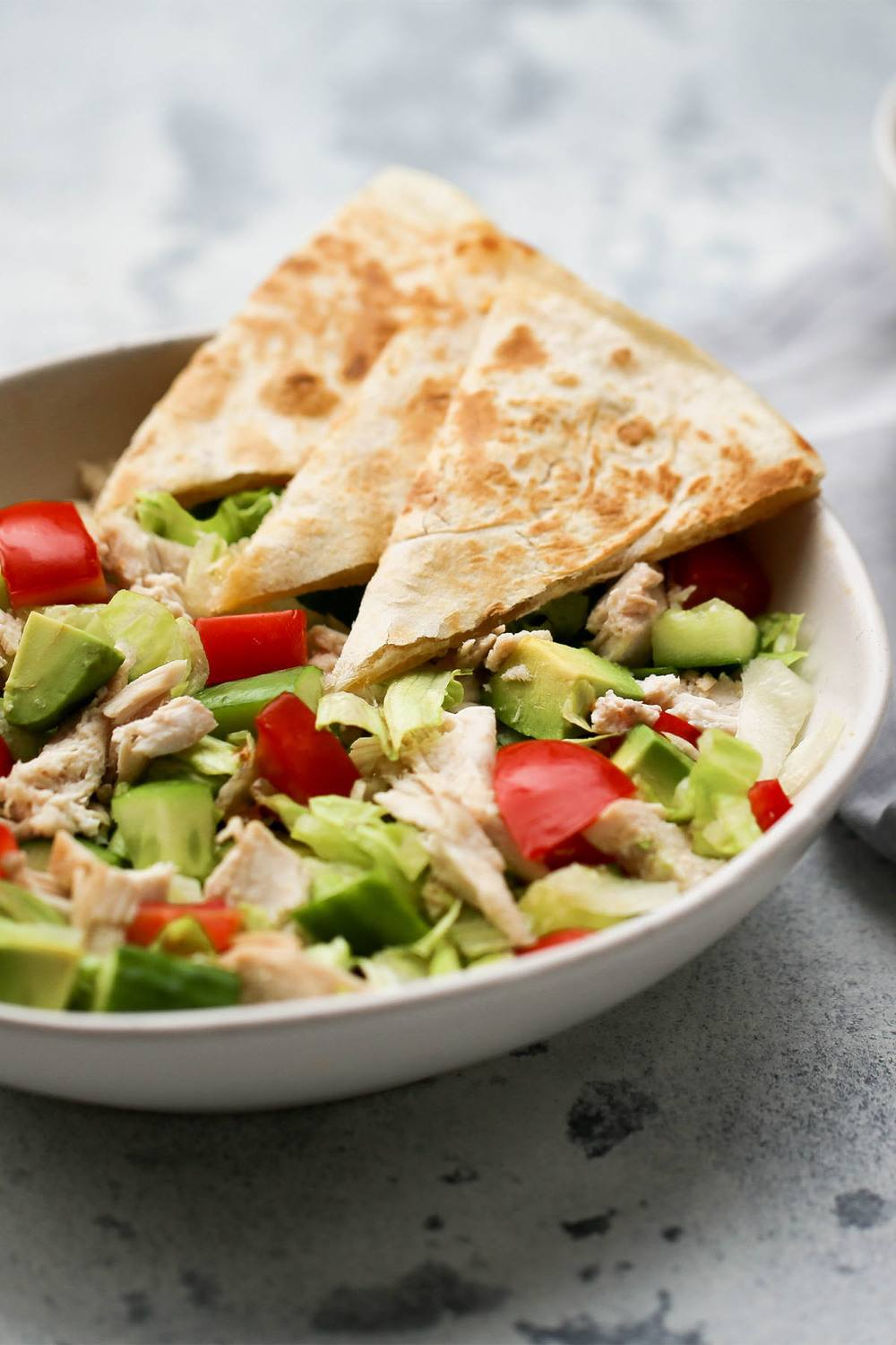 Chopped Chicken and Cheesy Quesadilla Salad Recipe Recipe | HeyFood — heyfoodapp.com