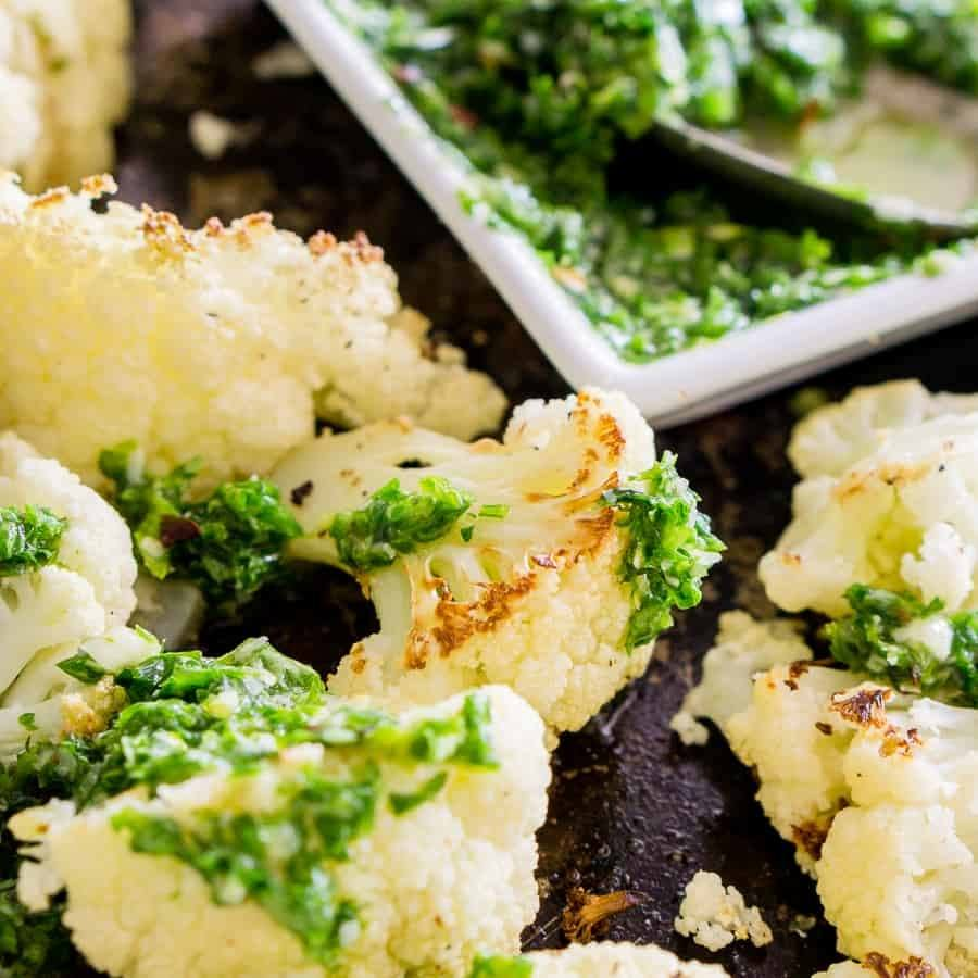 Roasted Cauliflower with Parsley Pesto Recipe | HeyFood — heyfoodapp.com