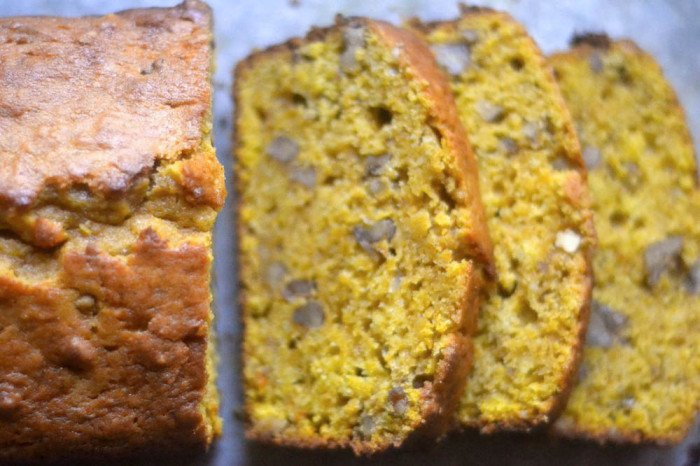 Pumpkin Bread with Toasted Walnuts Recipe | HeyFood — heyfoodapp.com