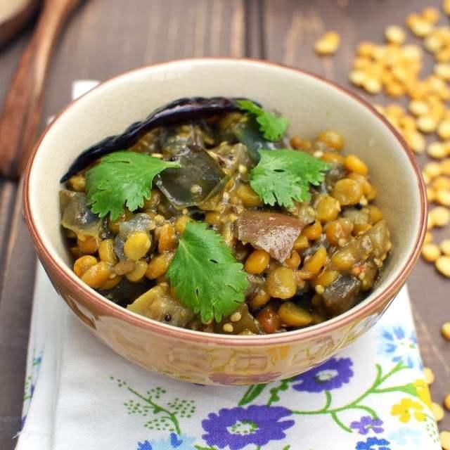 Iguru/ Vankaya-Senagapappu Iguru (Eggplant-Chana Dal Curry) Recipe | HeyFood — heyfoodapp.com